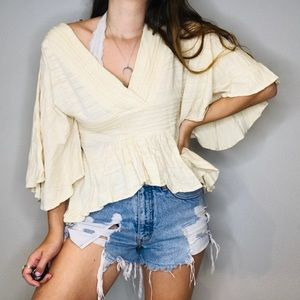 Lucky Brand cream butterfly blouse